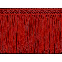 FINE CROCHET FRINGE 22CM RED