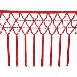 KNOTTED CROCHET FRINGE 30CM RED