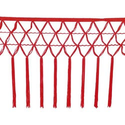 KNOTTED CROCHET FRINGE 30CM RED