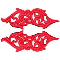 HEARTLEAF GUIPURE MOTIF FLOURESCENT RED