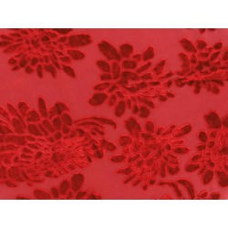ORNATE FLOCK ON GEORGETTE RED RED