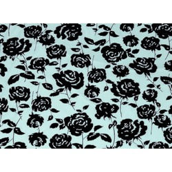 CC ROSE FLOCK BLACK ON PALE TURQUOISE