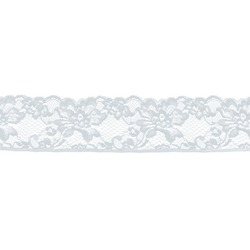 ROMANTIC NARROW STRETCH LACE BORDER WHITE