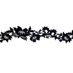 TROPICAL FLOWER RIBBON BLACK