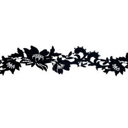TROPICAL FLOWER RIBBON BLACK