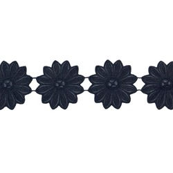 NEXUS LEATHER EFFECT FLOWER RIBBON BLACK