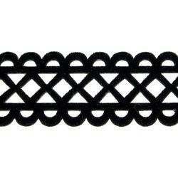 RHOMBUS VELVET RIBBON-IRON ON BLACK