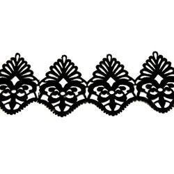 ROYAL GARLAND VELVET RIBBON-IRON ON BLACK