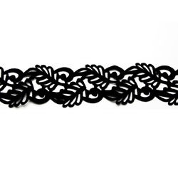 LEAF SWIRL VELVET RIBBON-IRON ON BLACK
