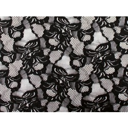 FLORAL CASCADE STRETCH LACE BLACK